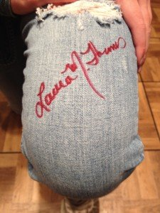 At the Junior Authors Conference, I signed a pair of jeans and a running shoe! That was cool.